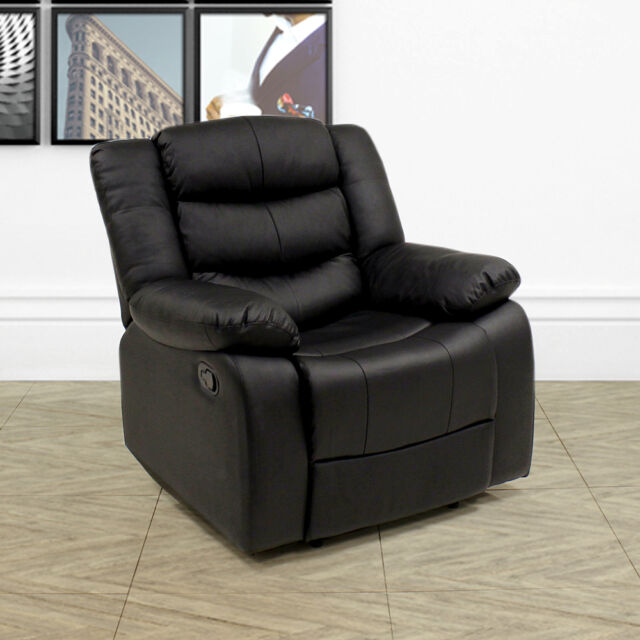 LAZY BOY LEATHER STYLE RECLINER CHAIR SOFA 1 SEATER LOUNGE ARMCHAIR GAMING BLACK & La-Z Boy Leather Style Recliner Chair Sofa 1 Seater Lounge ... islam-shia.org