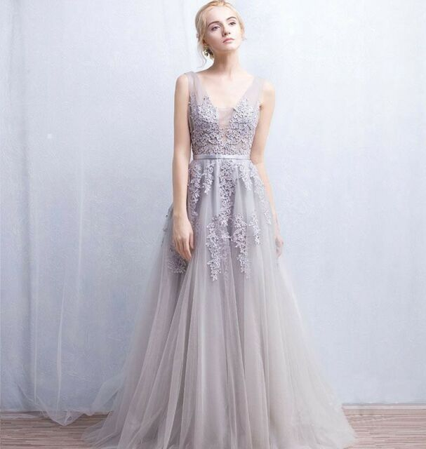 Silver Long Tulle Prom Evening Formal Dress Bridesmaid Dresses Party ...