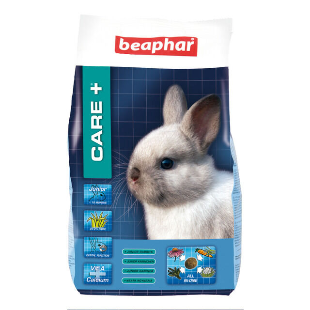 BEAPHAR CARE PLUS + JUNIOR RABBIT FOOD FEED COMPLETE DIET 1.5KG OMEGA & FIBRE
