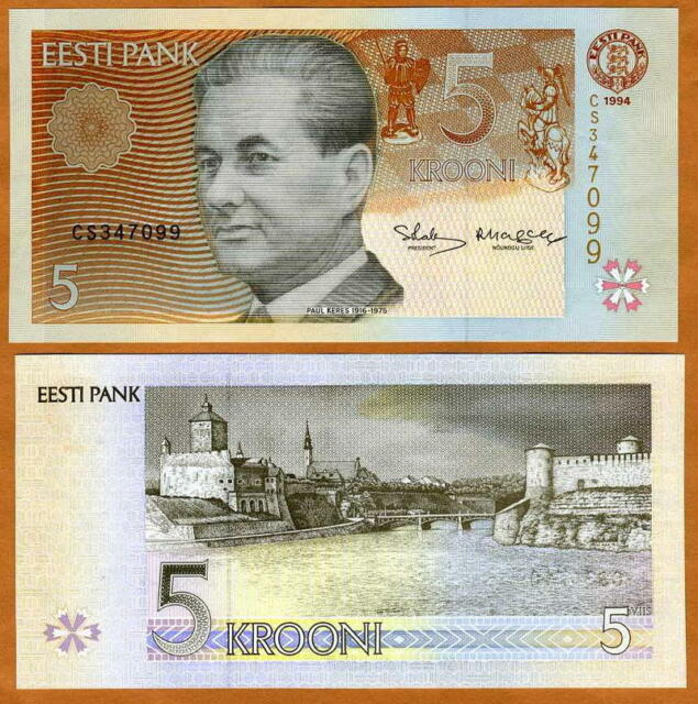 Estonia, 5 Krooni, 1994, Pick 76, EX-USSR, UNC > Pre-Euro