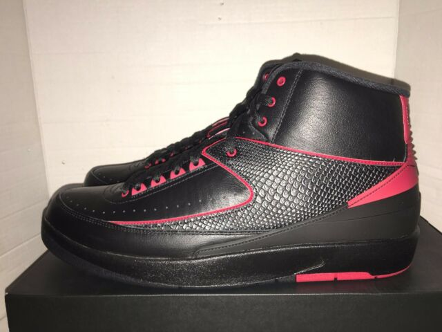 Nike Air Jordan 2 Retro Alternate II Mens 10 M Black Red Basketball Shoes 834274