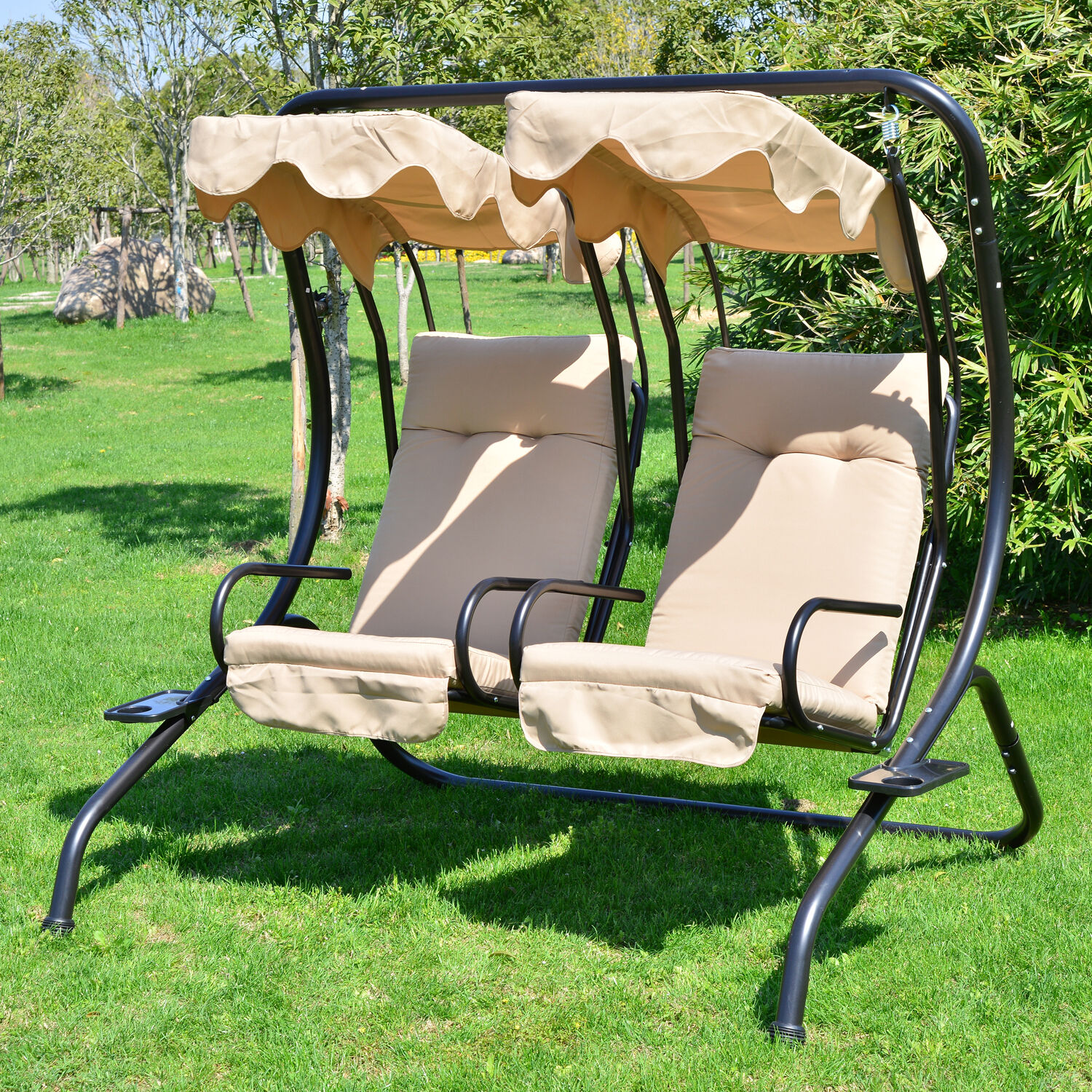 Outdoor Patio Swing Canopy 2 Person Seat Hammock Bench Yard