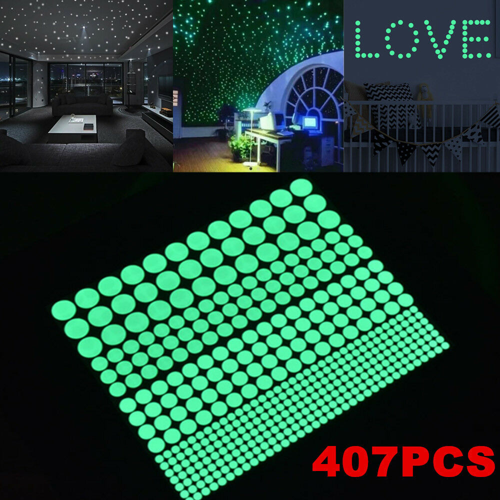 407pcs glow in the dark star round dot stickers luminous wall picture 1 of 12 amipublicfo Images