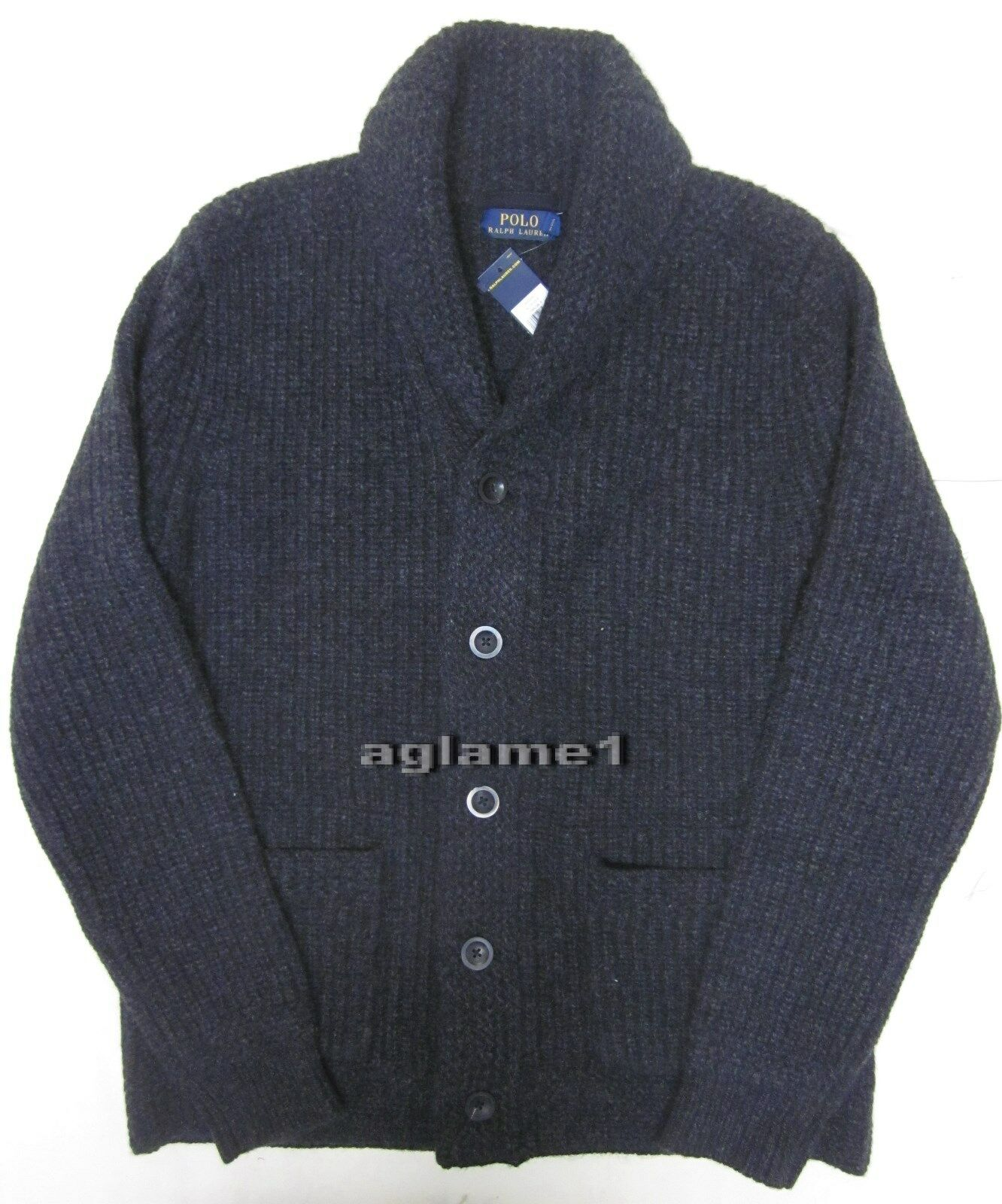 Polo Ralph Lauren Mens Wool Cashmere Charcoal Shawl Cardigan ...