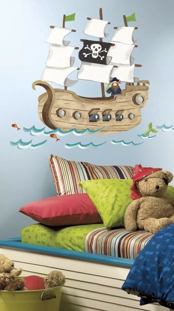 PIRATE SHIP WALL DECALS Baby Nursery Stickers Kids Bedroom Giant Decor NEW