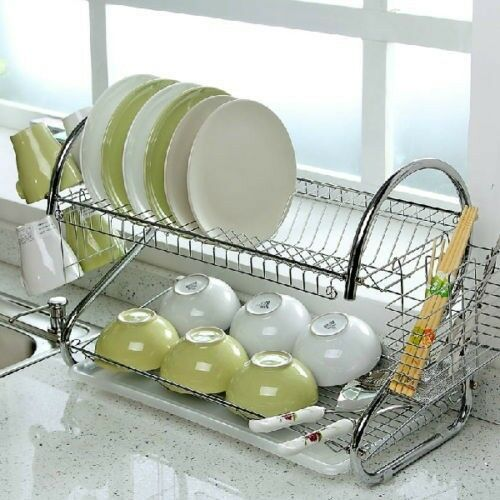 2 Tier Chrome Dish Plates Cup Cutlery Crockery Glass Drainer Rack Drip Tray UK | eBay & 2 Tier Chrome Dish Plates Cup Cutlery Crockery Glass Drainer Rack ...
