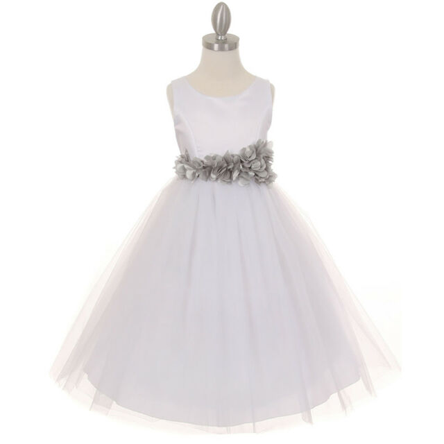 Ivory Flower Girl Dress Bridesmaid Birthday Dance Wedding Party Prom ...