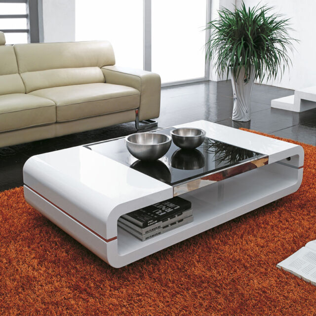 Design modern high gloss white coffee table with black for Design couchtisch bowl highgloss