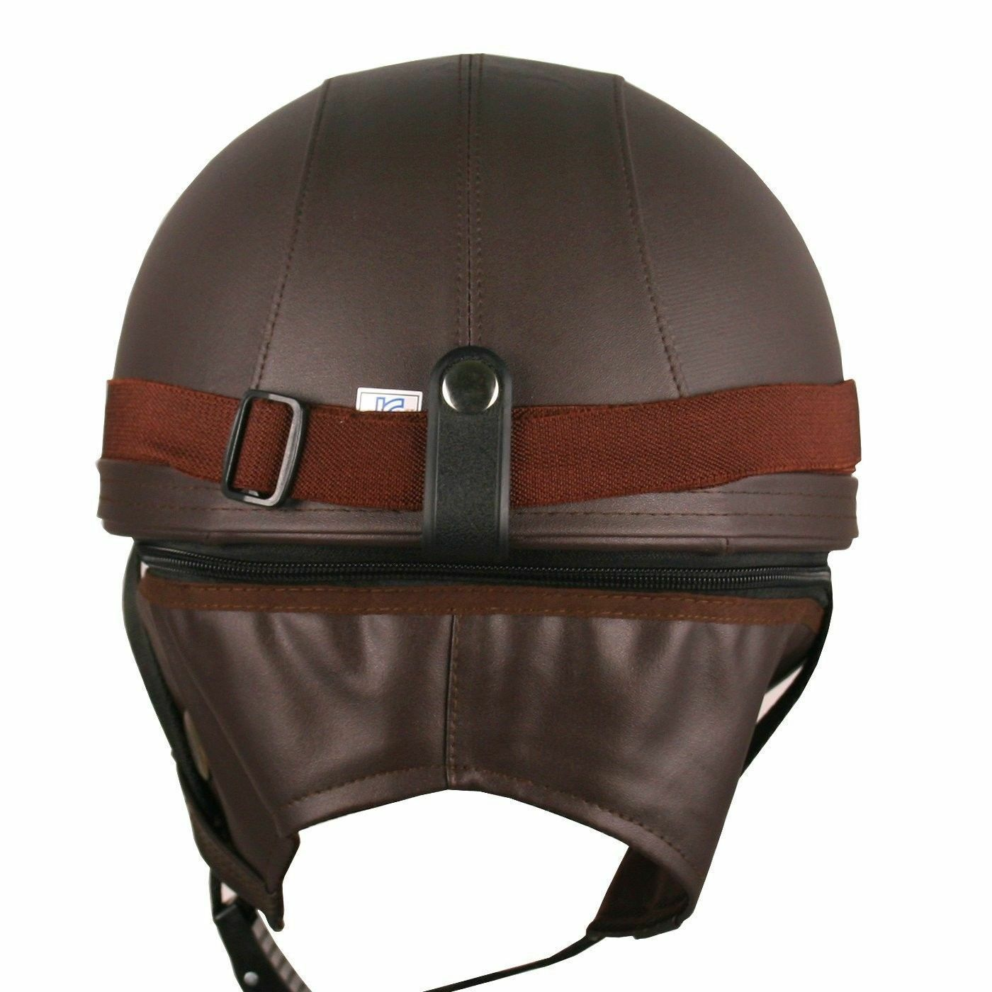 Helmet Half Motorcycle Bicycle Bike Goggle Leather Vintage Brown