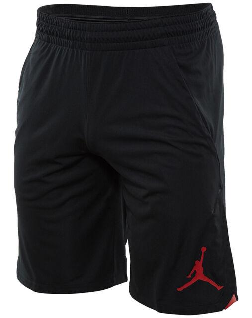 Jordan 23 Alpha Knit Mens 849143-010 Black Red Dri-Fit Basketball Shorts  Size