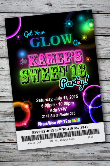 Sweet 16 glow in the dark theme neon disco birthday party invitation sweet 16 glow in the dark theme neon disco birthday party invitation 4x6 stopboris Image collections