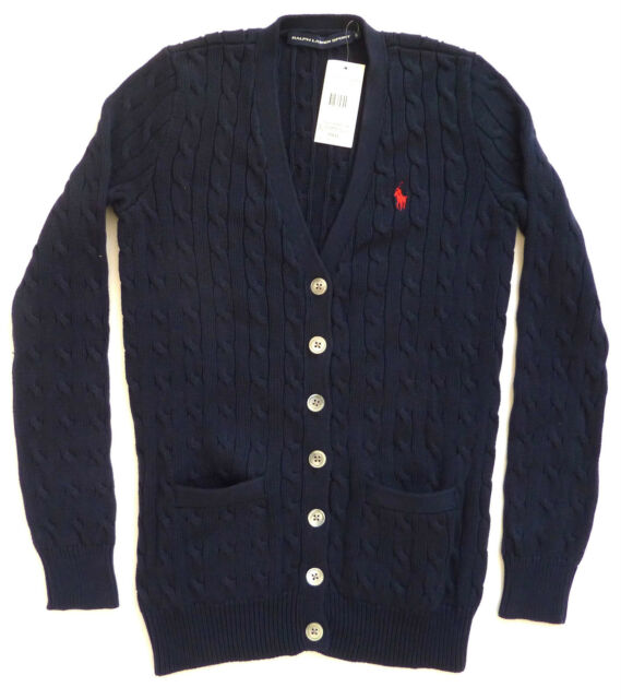 Ralph Lauren Polo Women's Cable Knit Button Cardigan Jumpers ...