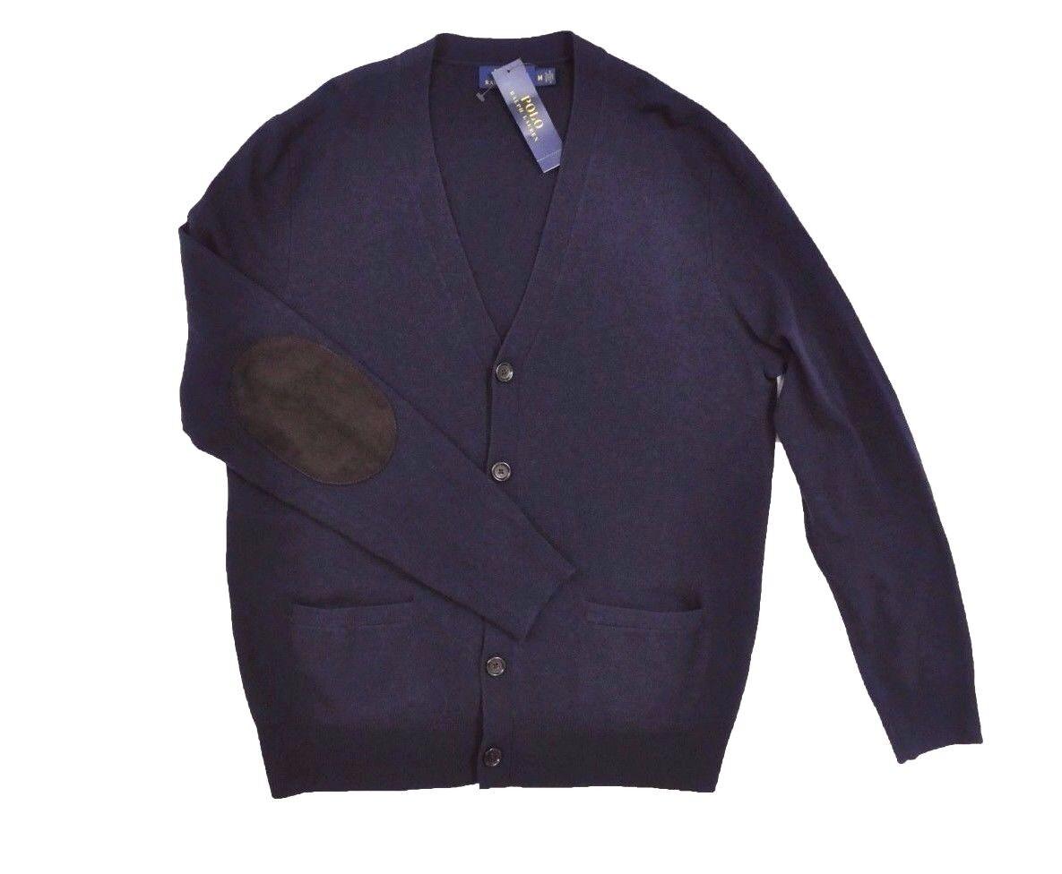 Polo Ralph Lauren Men Merino Wool Cardigan Sweater Elbow Patch V ...