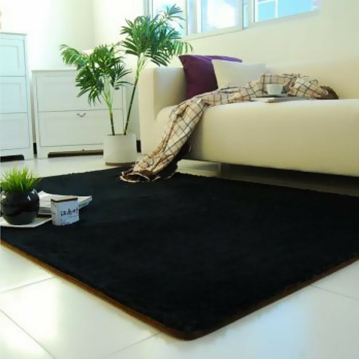 Fluffy Rugs Anti Skid Shaggy Area Rug Dining Room Home Bedroom Carpet Floor  Mat Black | EBay