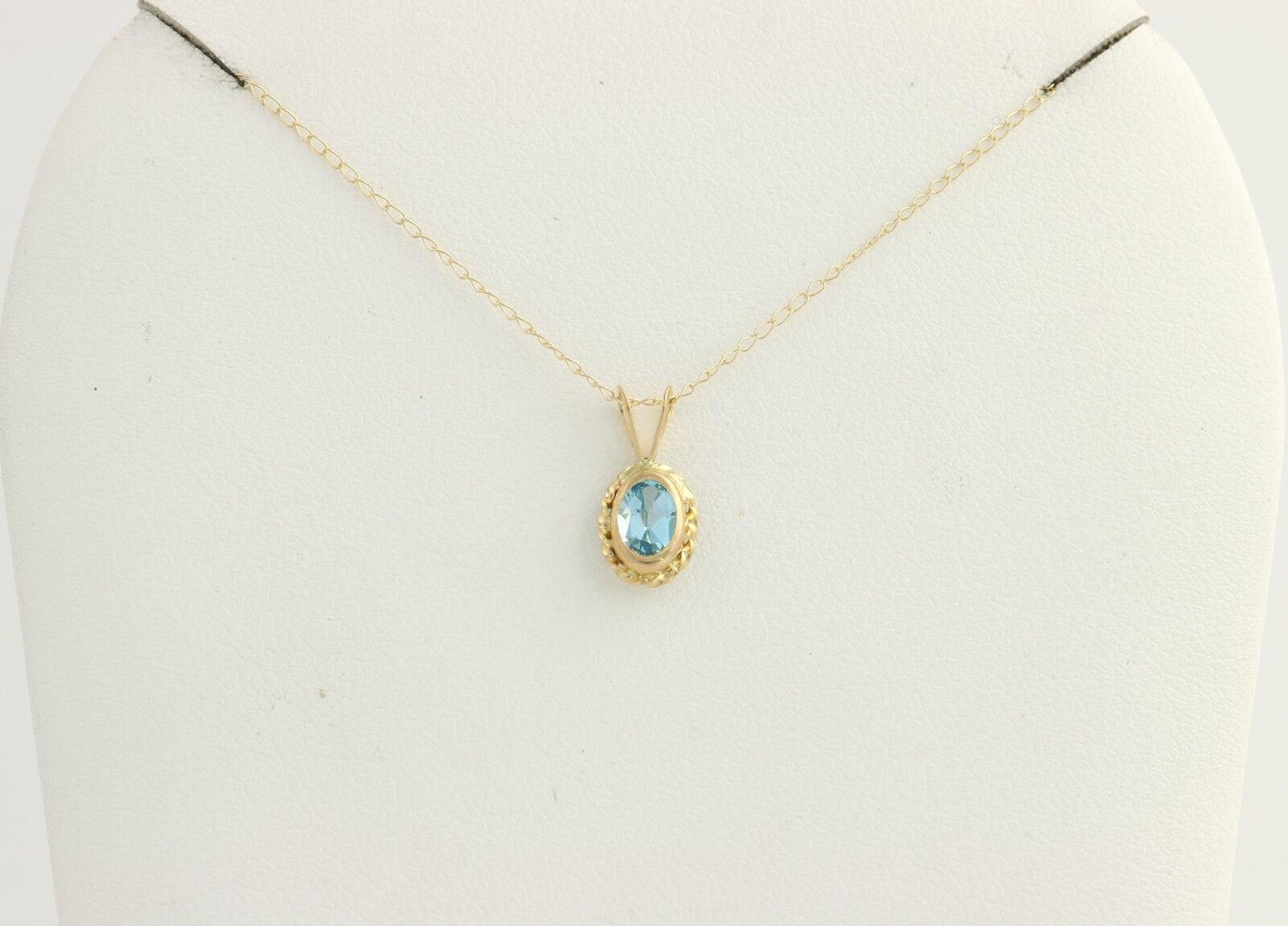 Blue topaz pendant necklace 10k yellow gold oval solitaire 18 picture 1 of 8 aloadofball Image collections