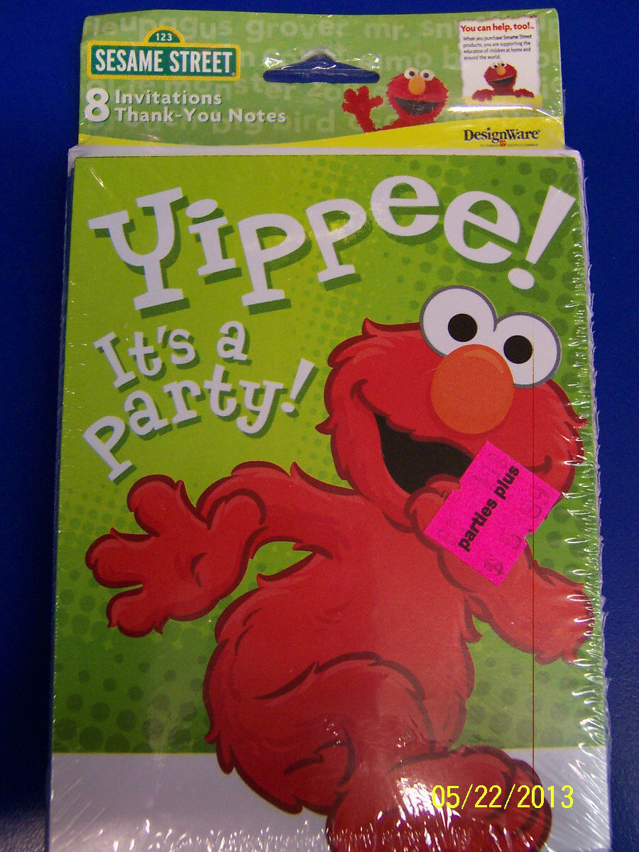 8) Sesame Street Elmo Invitations and Thank You Notes Birthday Party ...
