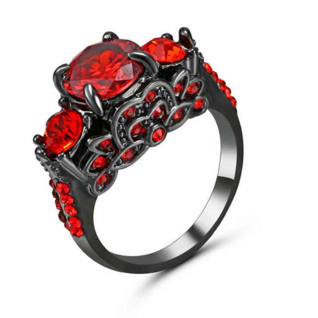 Vintage Ruby Red Garnet Wedding Promise Band Ring 18kt Black Gold Filled Size 7