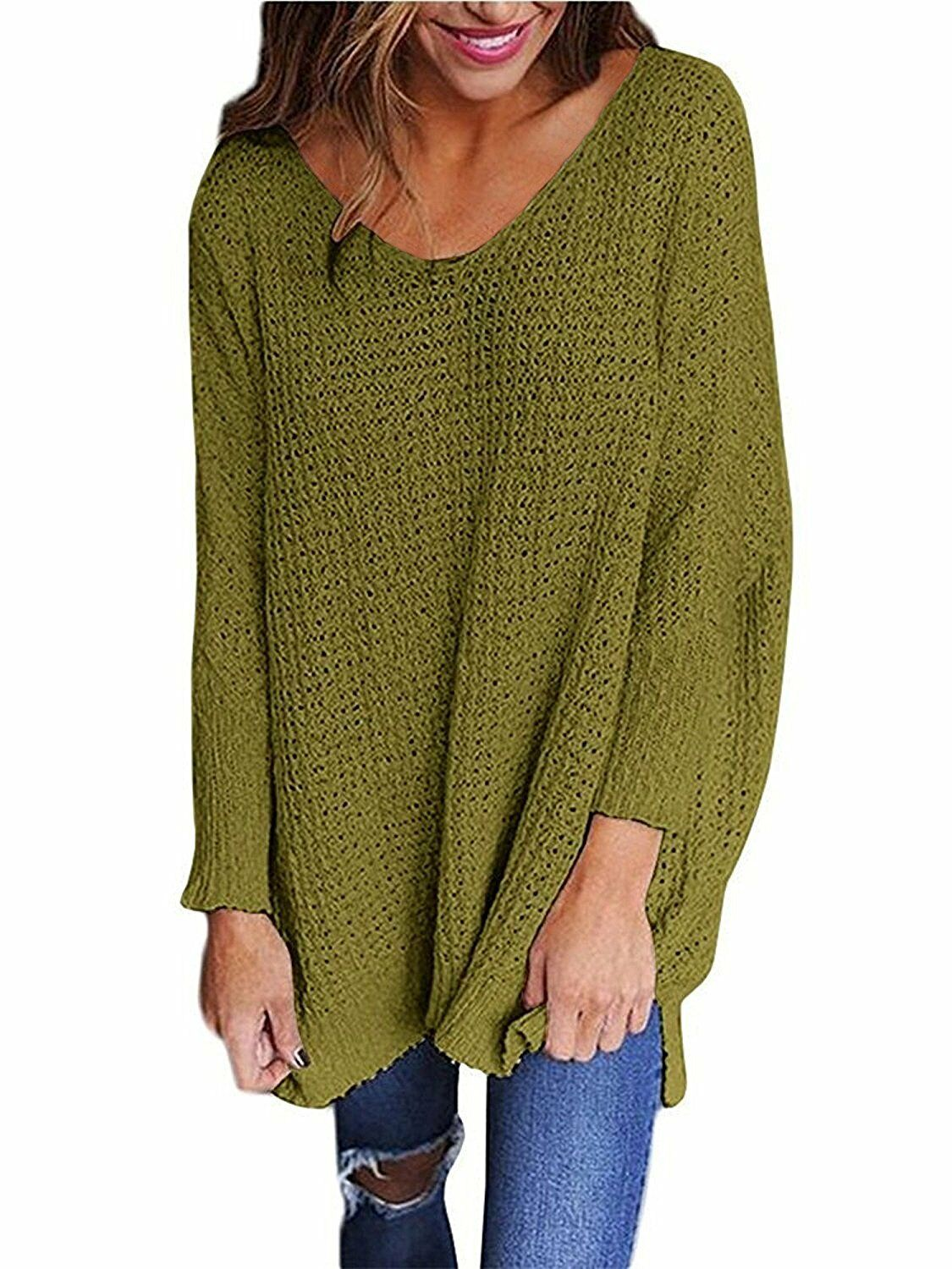 Sidefeel Women V Neck Oversized Knitted Baggy Sweater Top Jumper ...