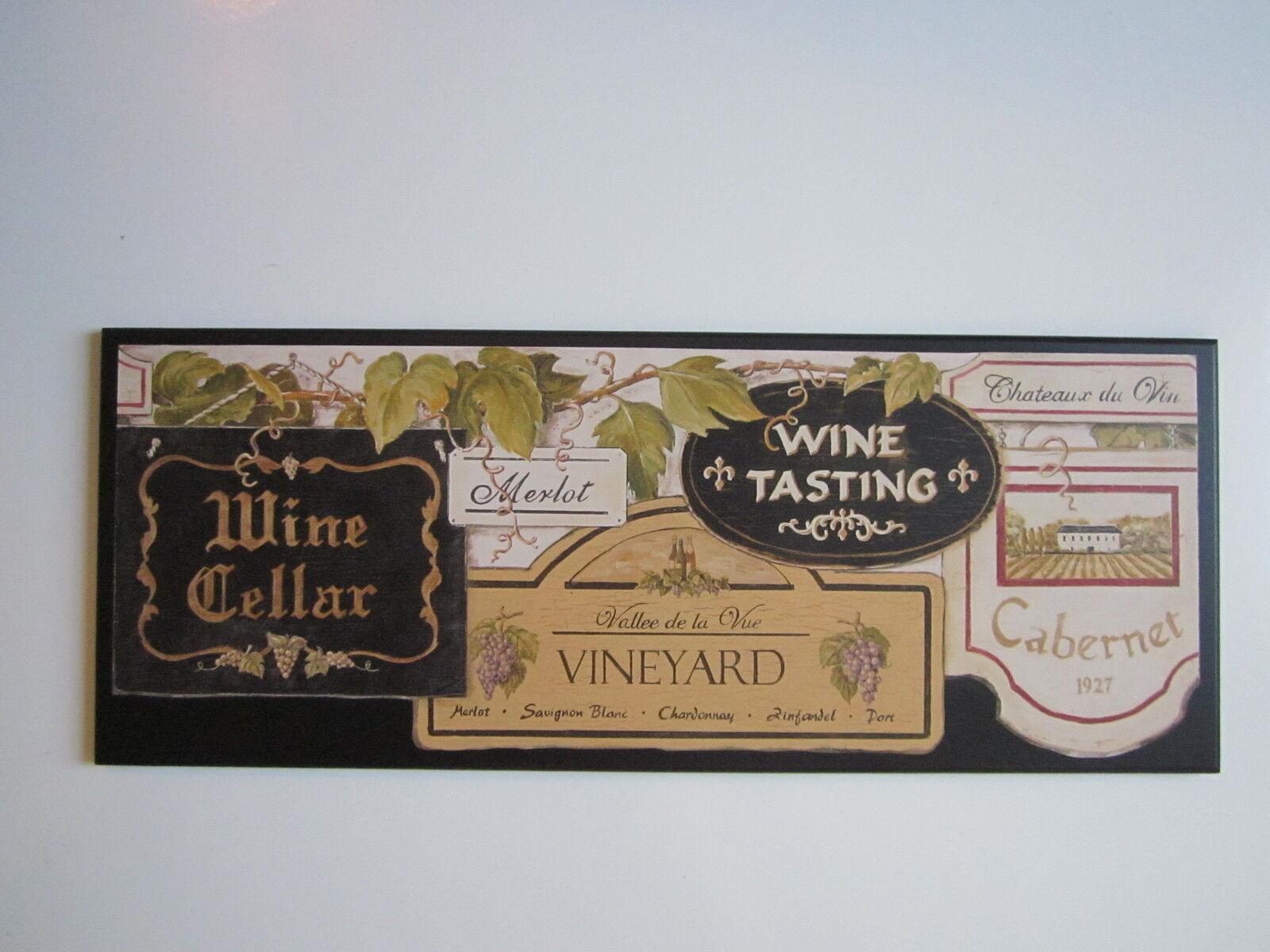 Wine Cellar Kitchen Wall Decor Plaque Black Tuscany Vineyard Italian