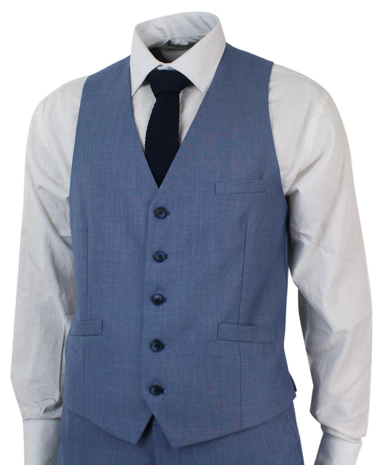 Mens Light Sky Blue 3 Piece Smart Formal Wedding Party Suit Tailored ...