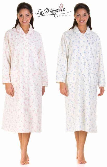 Ladies Cotton Rich Lightweight Quilted Button Through Dressing Gown ...