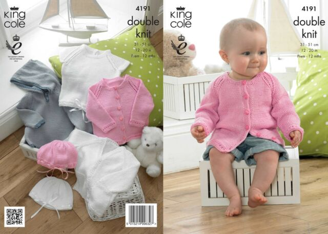 King Cole 4191 Knitting Pattern Baby Set in King Cole Giza DK
