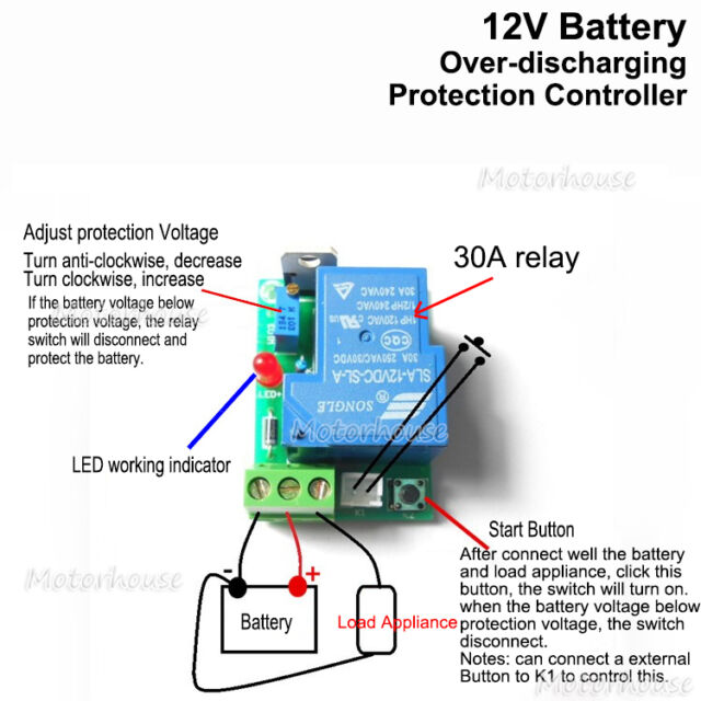 12v car battery low voltage cut off switch controller excessive protection board