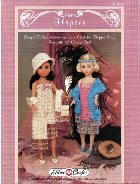 Flapper 15 Inch Doll Clothes Fibre Craft Crochet Pattern Booklet
