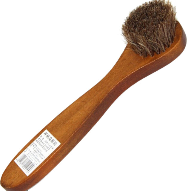 Long Handle Wood Bristle Horse Shoe Hair Brush Boot Polish Shine Dauber Bh