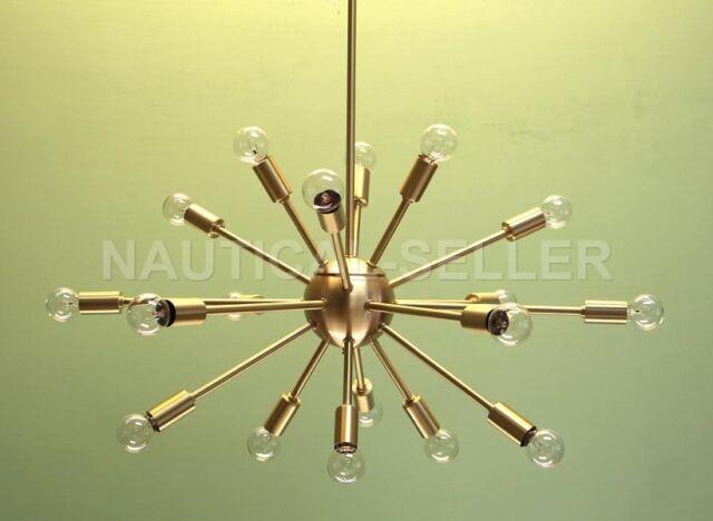 mid century modern brass sputnik atomic chandelier starburst light
