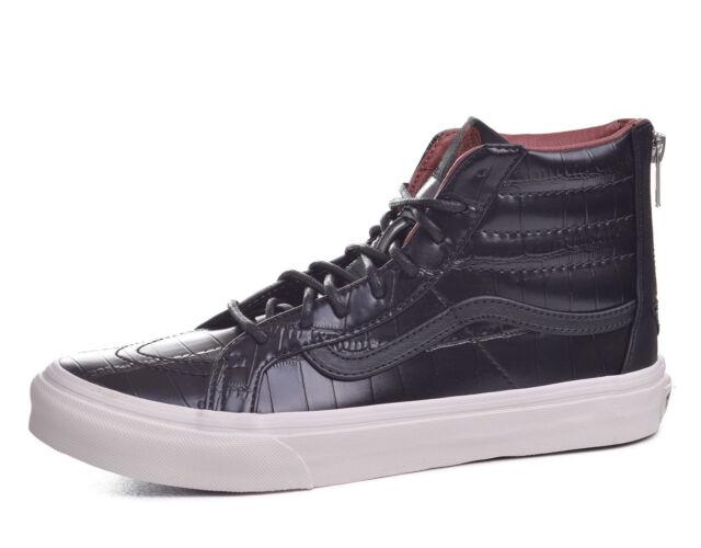 vans croc leather sk8-hi slim zip