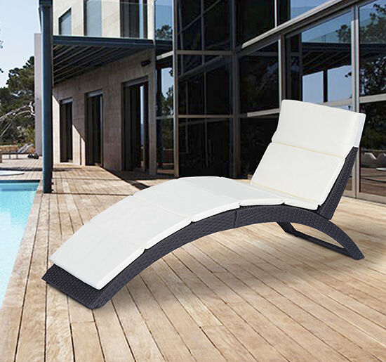 Outsunny Folding PE Rattan Wicker Patio Chaise Lounge Chair