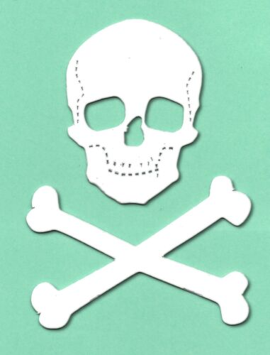 10 white Skull /& crossbones 10x9.5cm pirate die cuts crosscut spooky halloween