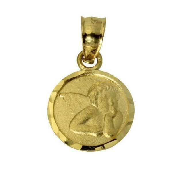 14k yellow gold angel pendant charm religious ebay 14k real yellow gold very small religious baby angel charm pendant 10mm 38 aloadofball Gallery