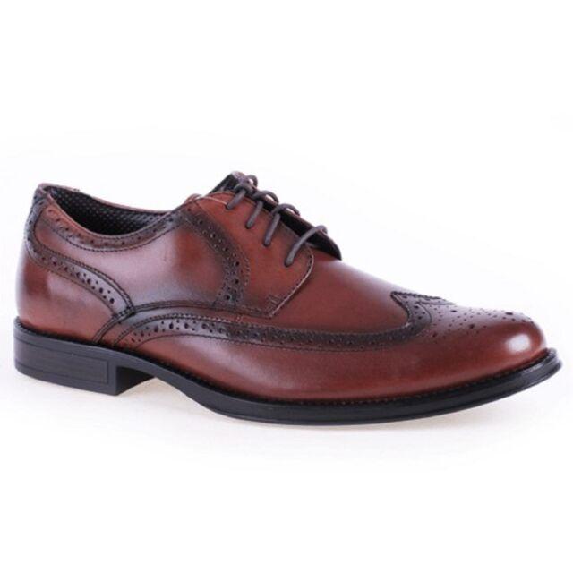 Men Dockers MORITZ 90-28722 Dark Tan Leather Oxford Lace Up WingTip Dress  Shoes