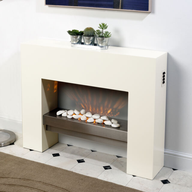 Standing Fire Surround White Electric Mdf Fireplace Flicker Flame Suite Ebay