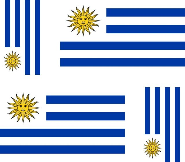 4x uruguay flag decals sticker bike scooter car vinyl luggage helmet