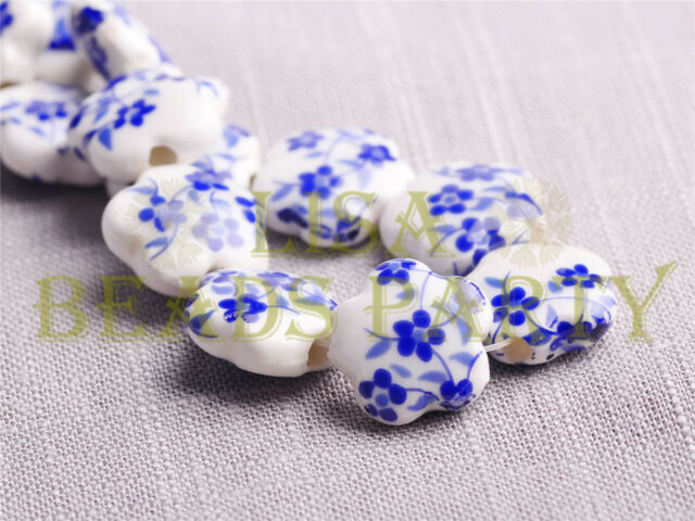 New 10pcs 15mm Flower Porcelain Ceramic Loose Spacer Beads Findings Royal Blue