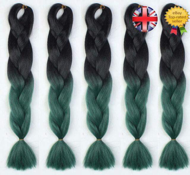 5 Packs 24 Black Green Ombre Dip Dye Kanekalon Jumbo Braiding