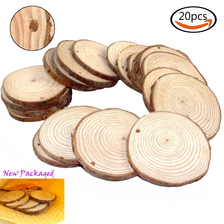 20 Pcs 2-2.5 Inch Unfinished Natural Wood Wooden Slice Wedding ...