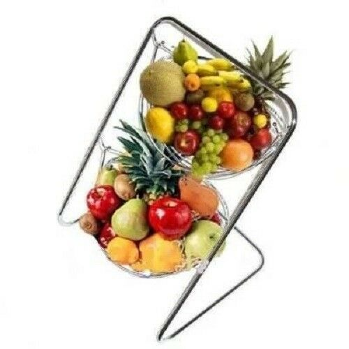 2 Tier Chrome Swinging Hammock Hanging Fruit Vegetable Bowl Basket Rack  Stand