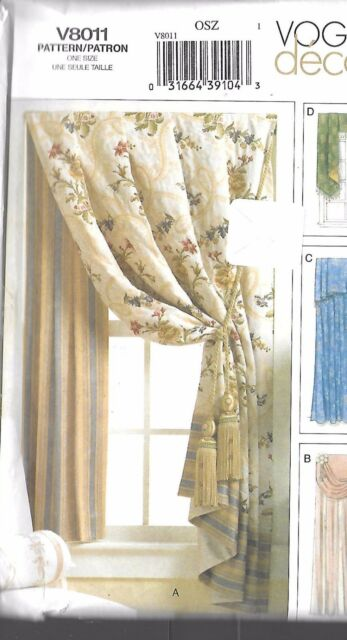 Vogue 8011 Home Decor Pattern Valances D Osz Uncut Factory Fold