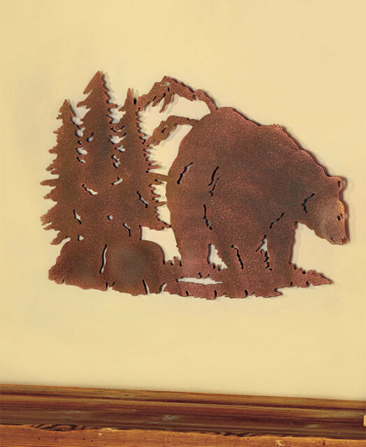 Metal Die Cut Bear Silhouette Wall Art Wildlife Cabin Lodge Rustic ...