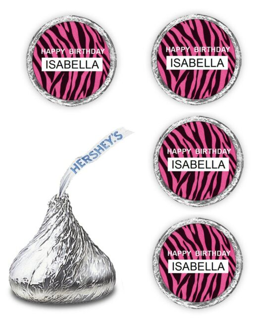 Pink Zebra Print Birthday Party Favors Kisses Candy Wrappers Labels