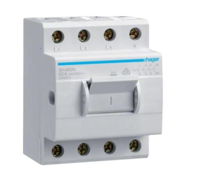 Hager Aus-/Kompaktschalter SH463N 4polig 63A