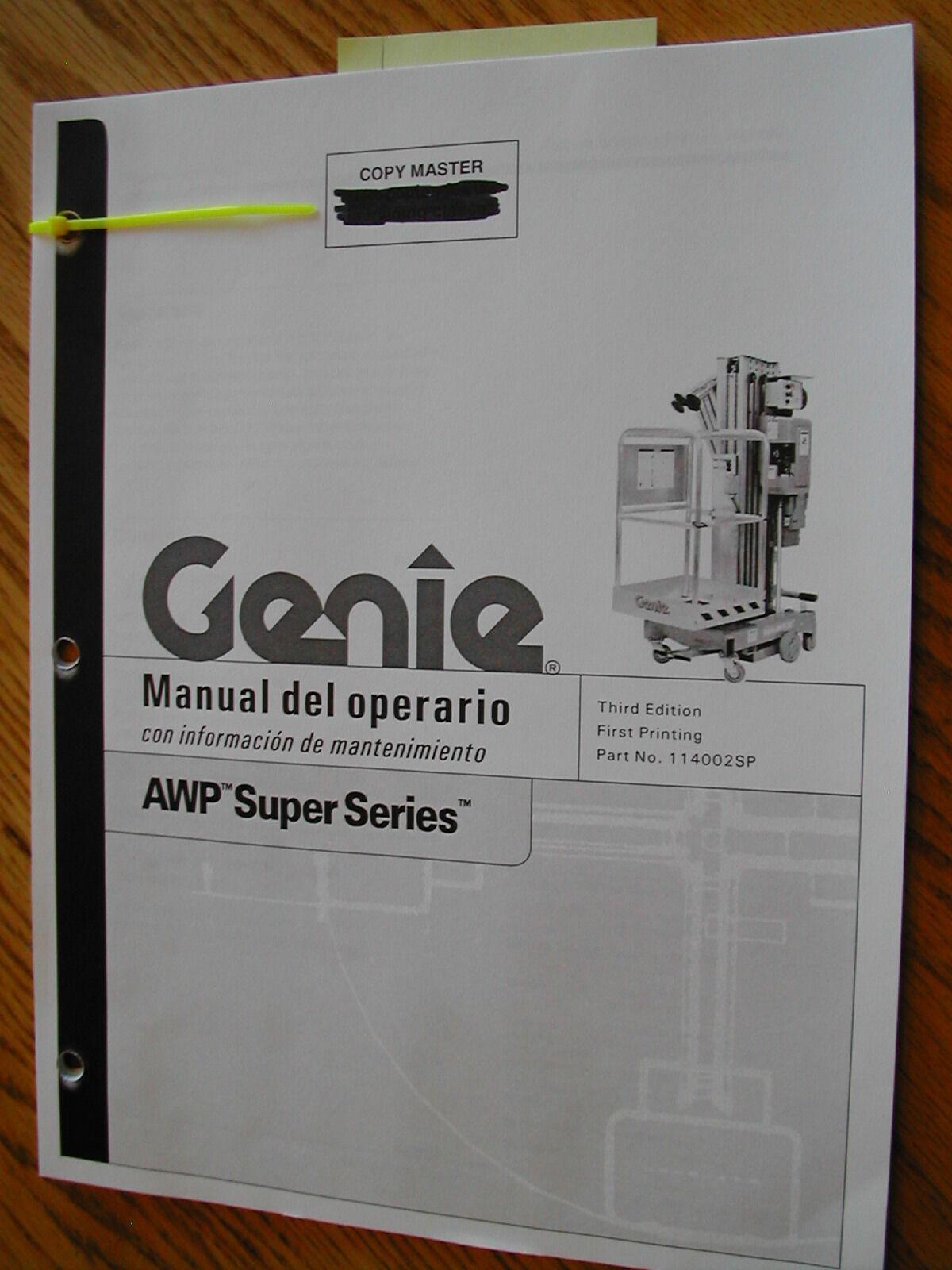 genie awp operators manual mast man lift operation maintenance rh ebay com Grove Manlift Parts Diagram Grove Manlift Parts