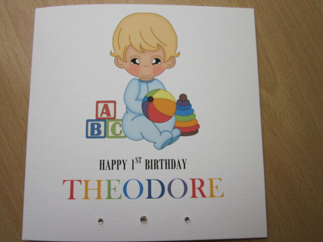 Handmade personalised boys 1st birthday card nephew son grandson etc personalised handmade boys 1st first birthday card son grandson nephew etc bookmarktalkfo Images