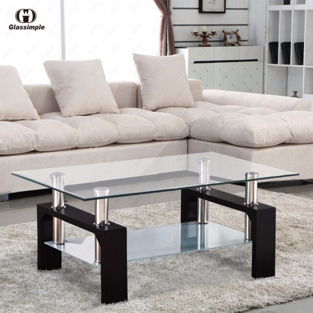 Black And Chrome Coffee Table Set: DESIGNER Glass Rectangular Coffee Table Shelf Chrome Wood