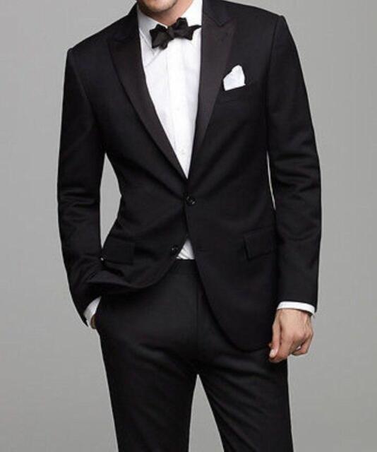 Black Jacket Pants Necktie Lapel Groom Tuxedos Groomsmen Suits Hot ...
