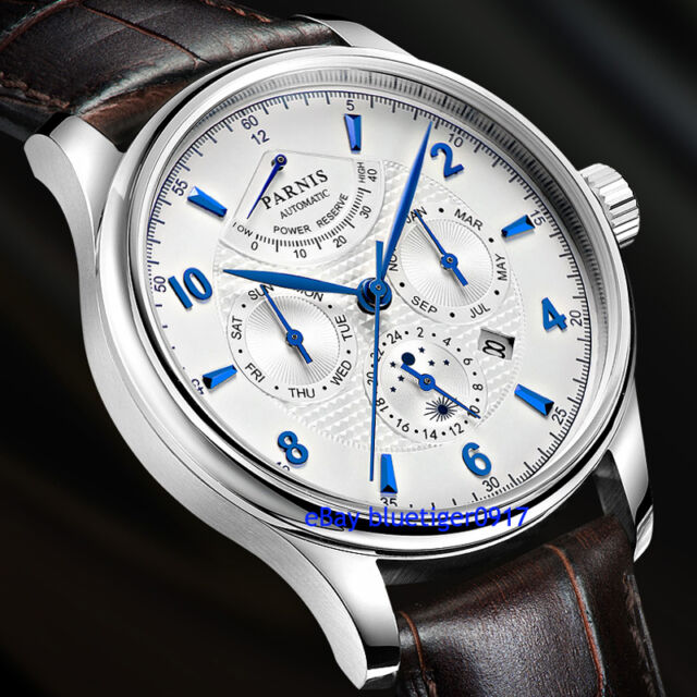 Parnis 42mm miyota 9100 automatic movement sapphire glass power reserve watch ebay for Auto movement watches